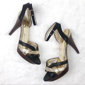 Michael Kors Black and Gold sandals